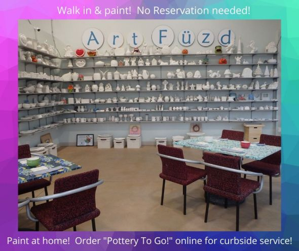 Just walk in and paint pottery at Art Füzd in Schaumburg!