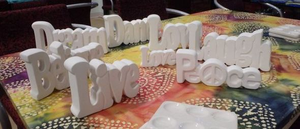 Inspirational standing word plaques